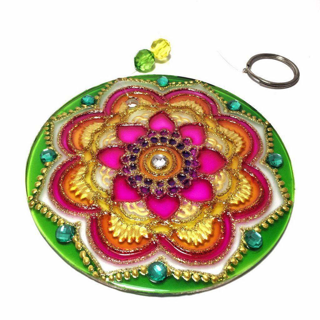 Mandala de Vidro Pétalas Flor Verde Rosa 10cm