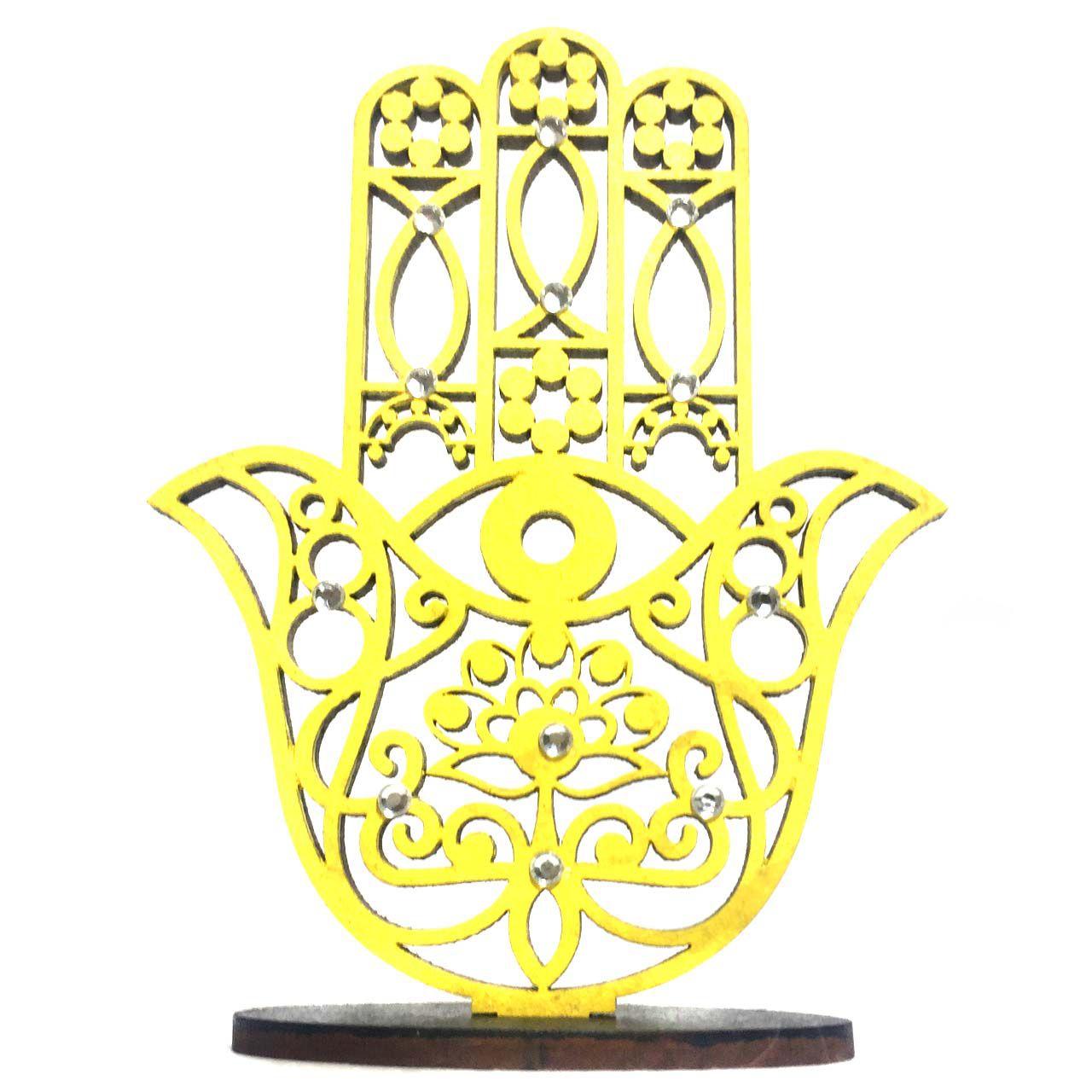 Mão de Hamsá na Base Mini Amarela em Mdf 9,5cm