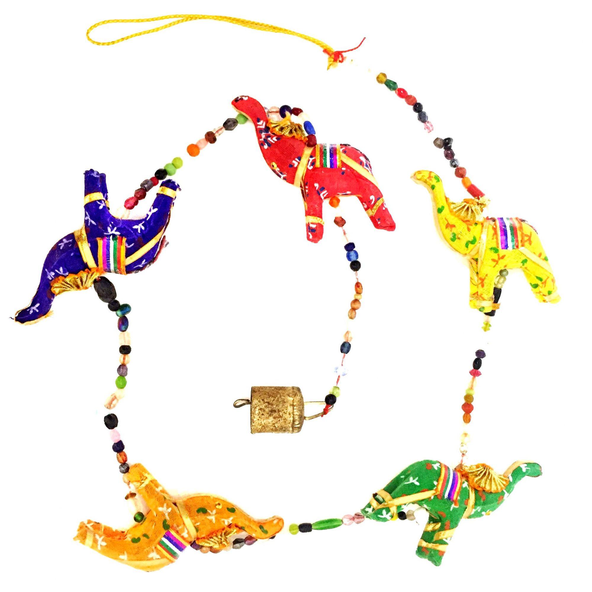 Mobile Elefantes Coloridos Indiano Fio de Luz
