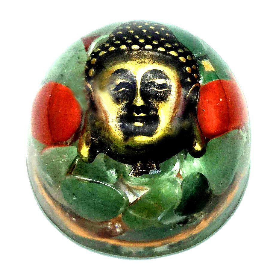 Orgonite Buda Quartzo Verde, Jaspe Vermelho e Pirita - Últimas unidades