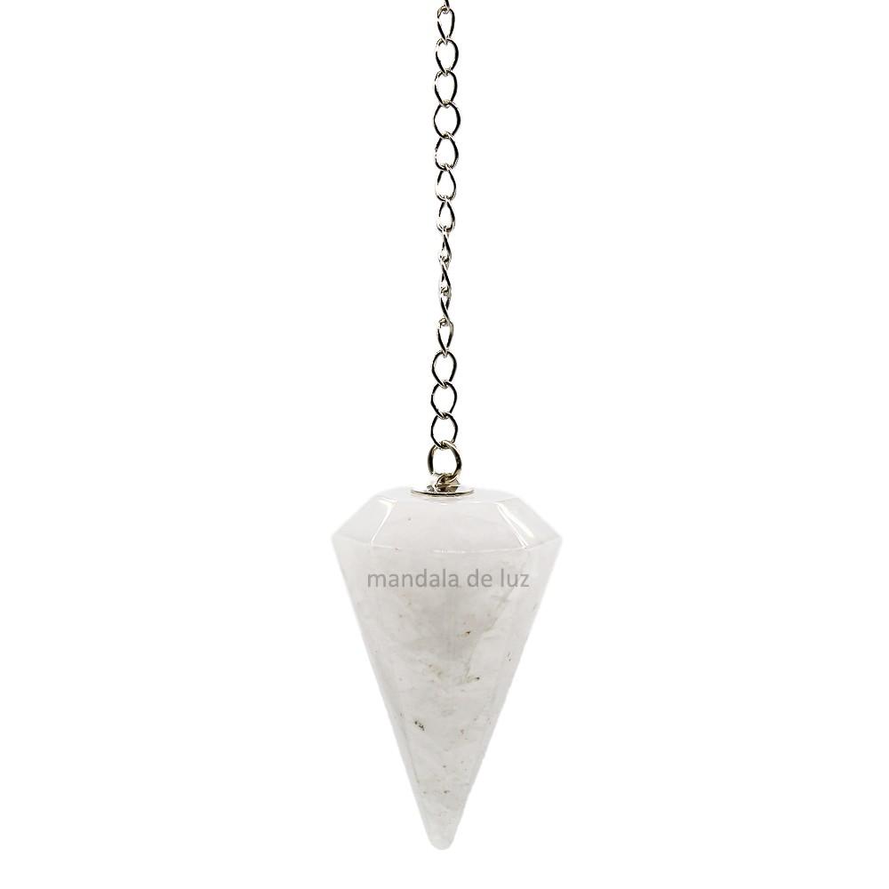 Pêndulo de Cristal de Quartzo Branco Pedra Natural Leitoso