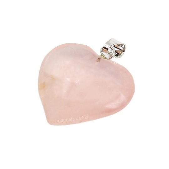 Pingente Prateado de Coração Pedra Quartzo Rosa Natural