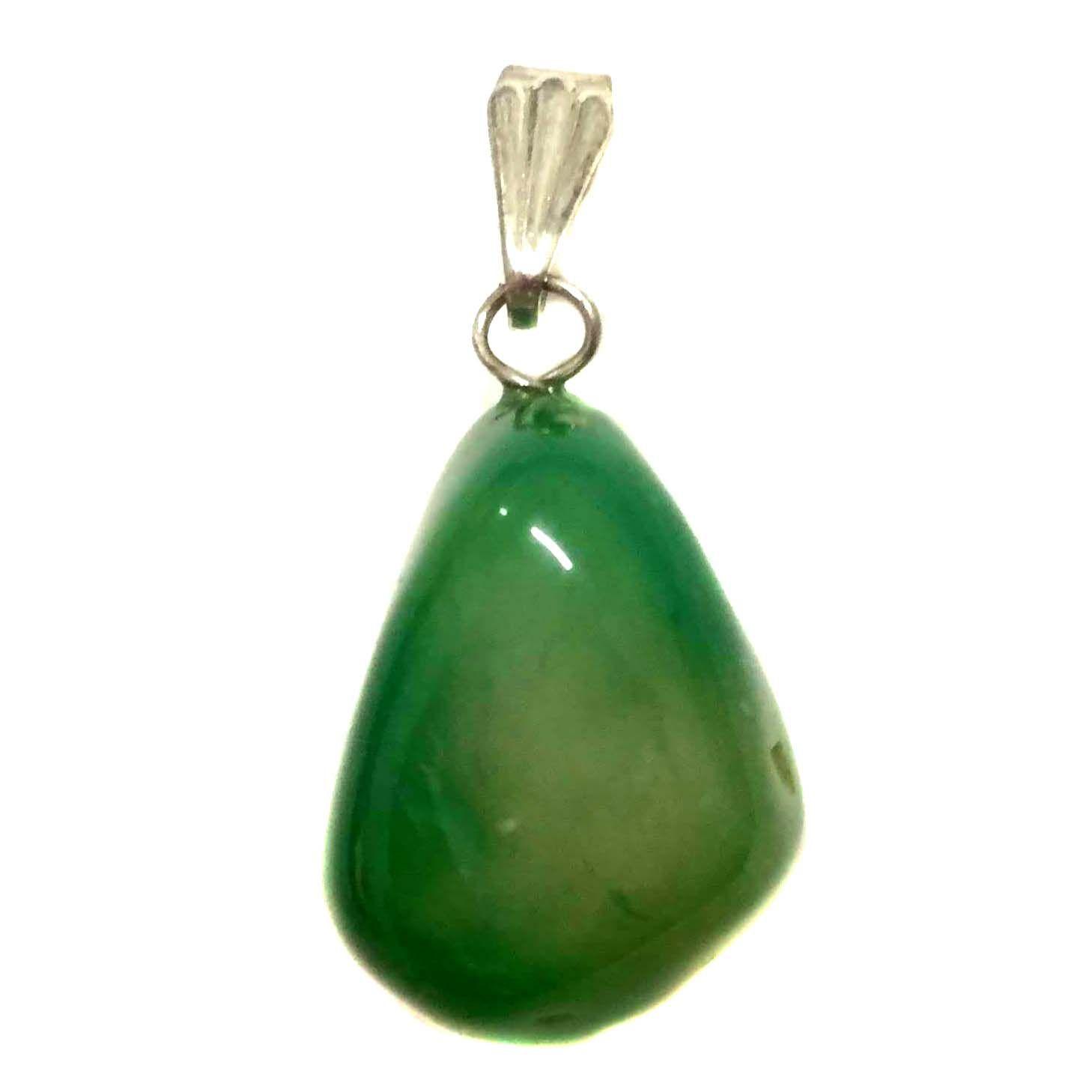 Pingente Prateado de Pedra Ágata Verde