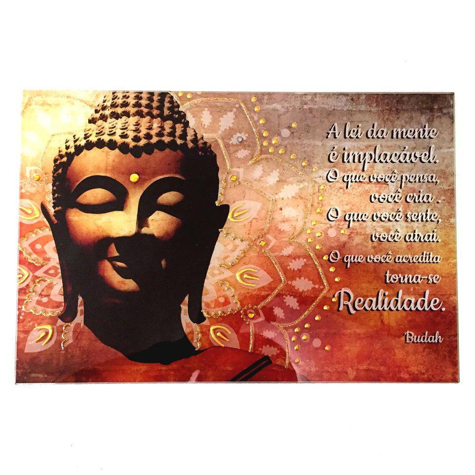 Placa Buda Vidro Frase Realidade 20x30cm