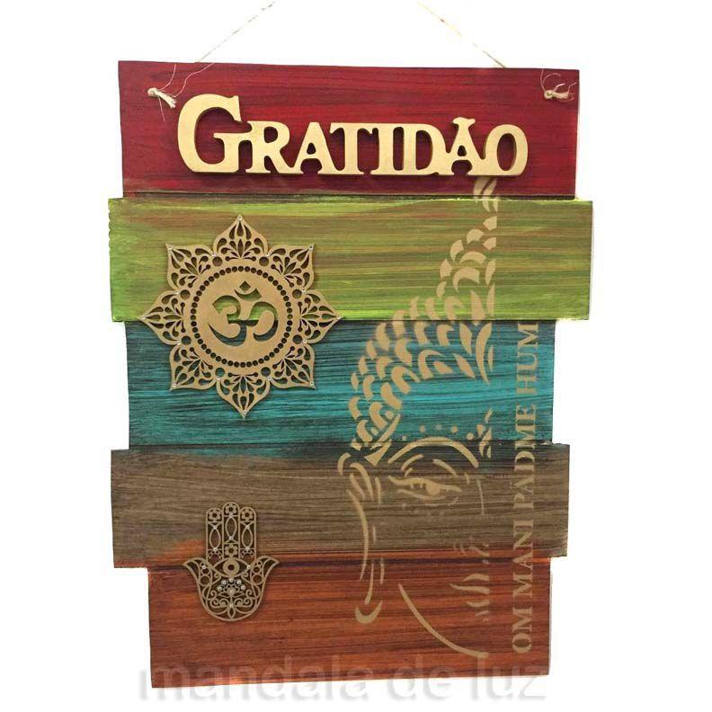 Placa Gratidão Mandala OM Mão de Fátima MDF