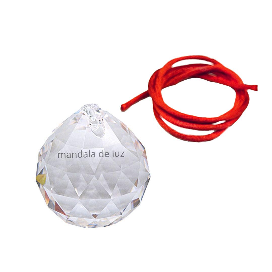Prisma Esfera Multifacetada de Cristal Asfour 40mm + Fio Vermelho