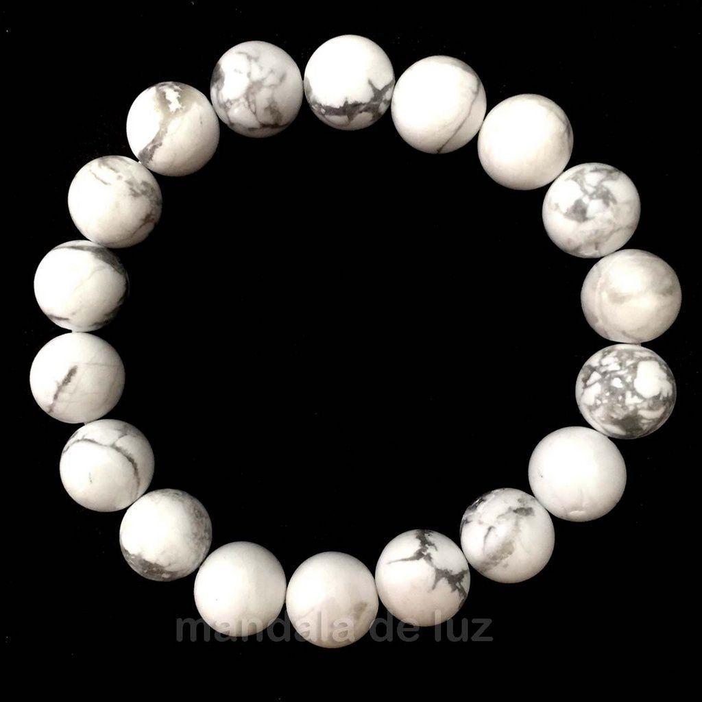 Pulseira de Esferas de Pedra Howlita Branca