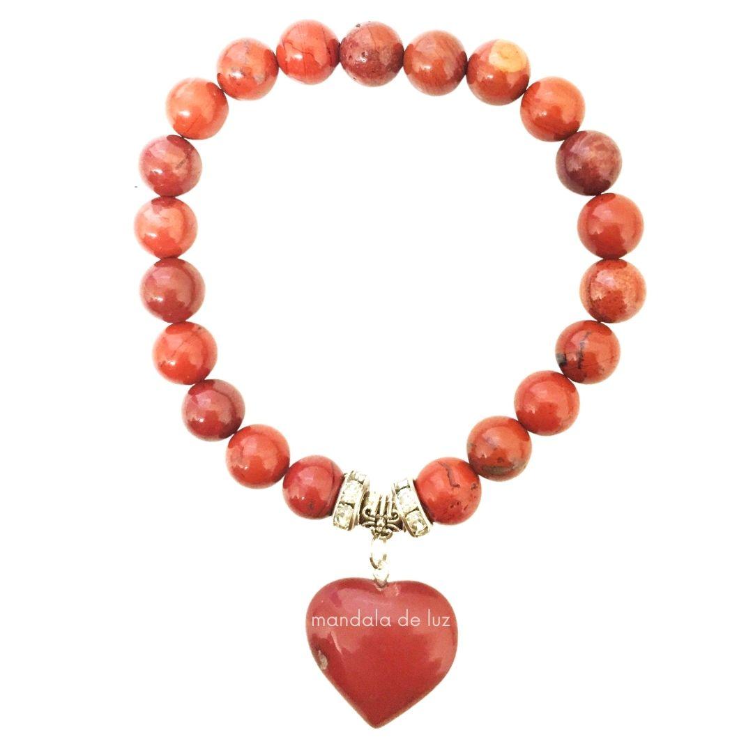 Pulseira de Esferas de Jaspe Vermelho com Berloque de Coração e Strass