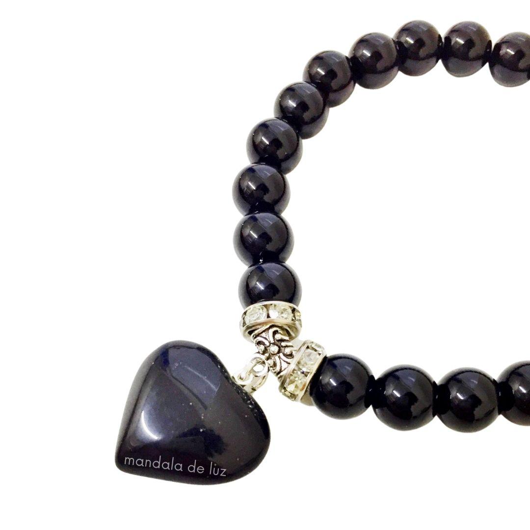 Pulseira de Esferas de Obsidiana Negra com Berloque de Coração e Strass