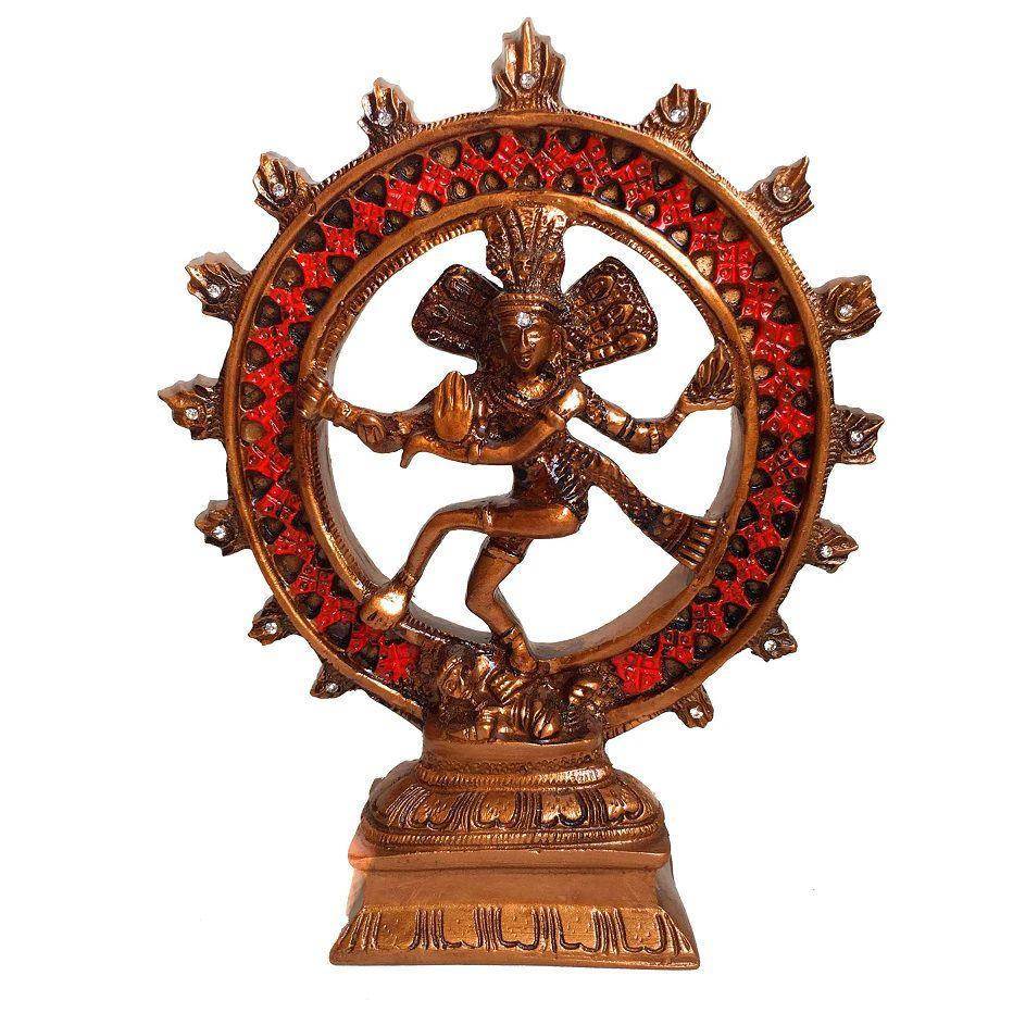 Shiva na Roda de Fogo Resina Cor Bronze 20cm