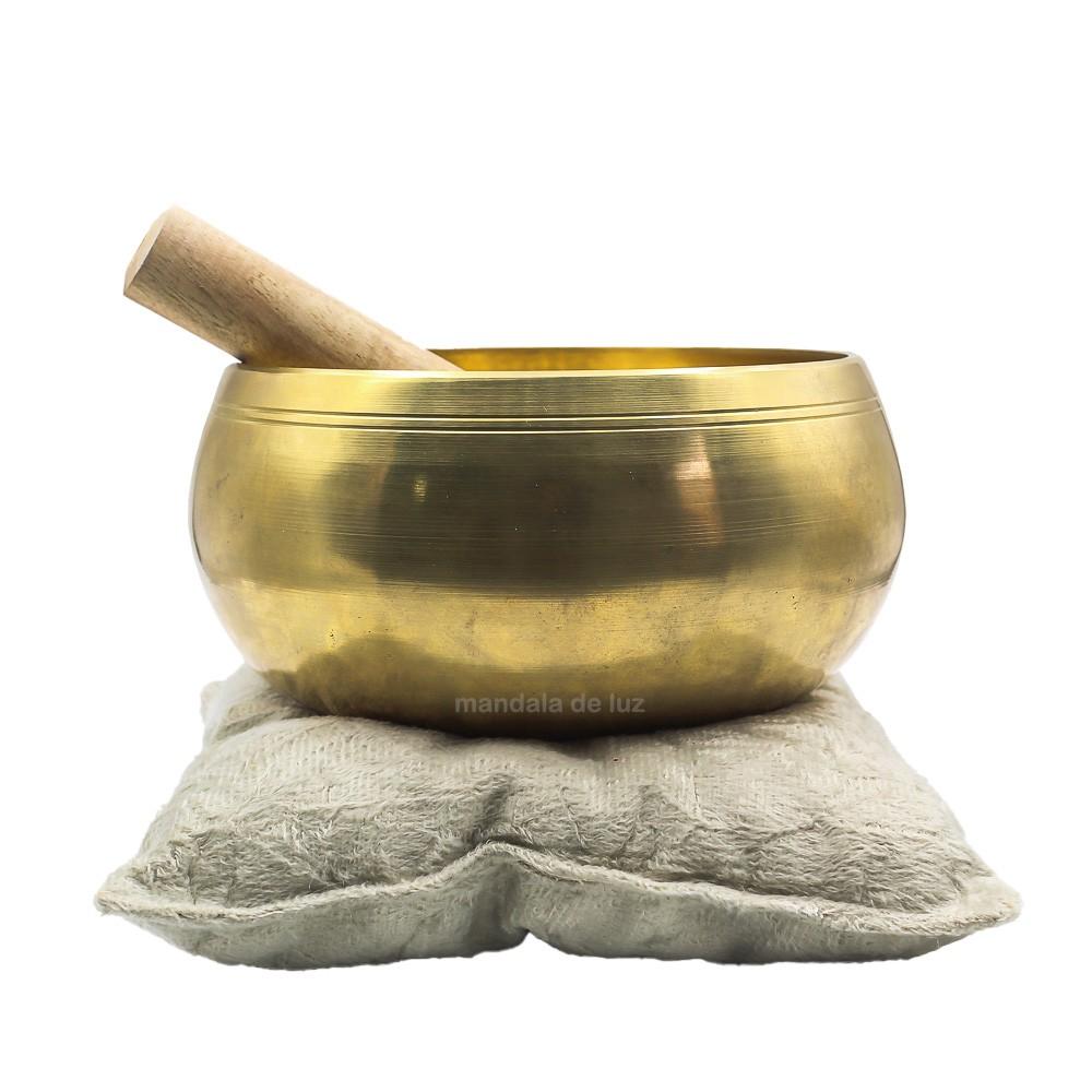 Sino Tigela Tibetana Índia Dourada 16cm + Bastão + Almofada