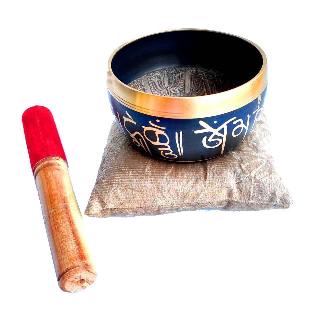 Sino Tigela Tibetana Orin Artesanal 7 Ligas de Metais 11cm + Almofada