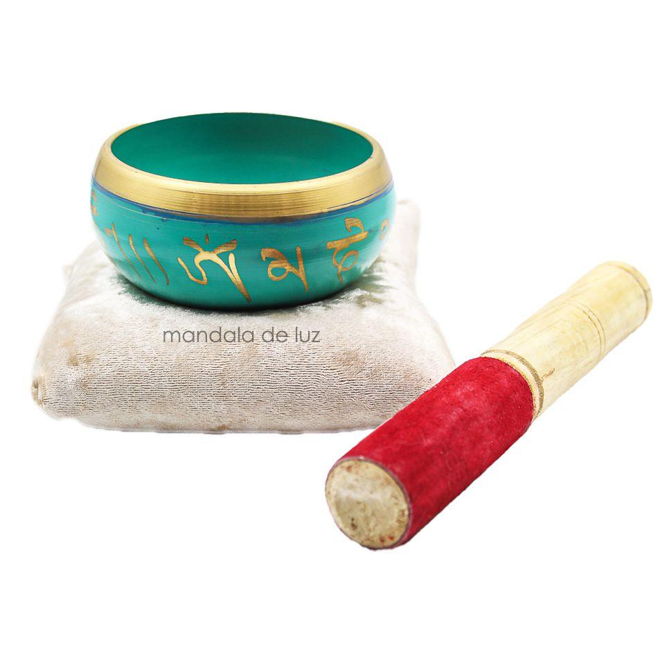 Sino Tigela Tibetana Orin Índia Verde 9cm + Almofada