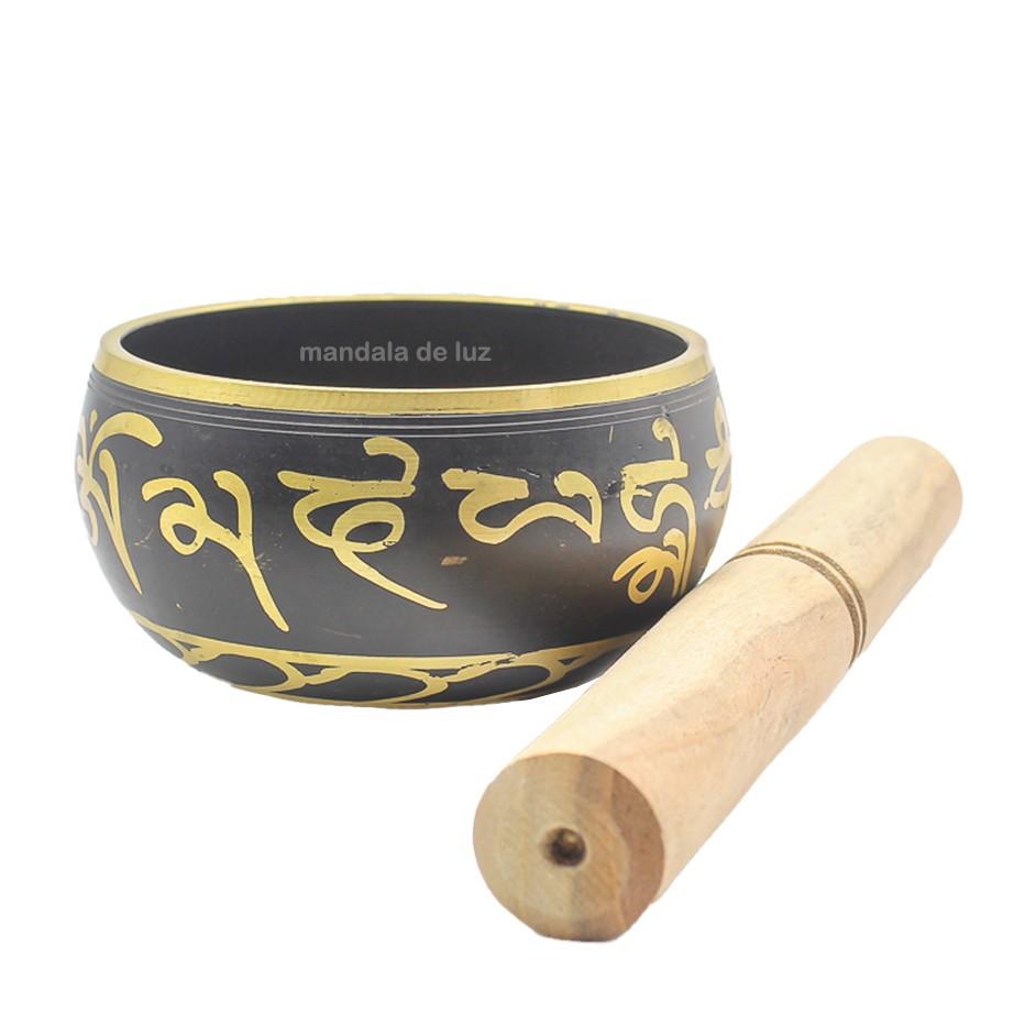 Sino Tigela Tibetana 7 Ligas Metais Preta e Dourada Indiana 9cm