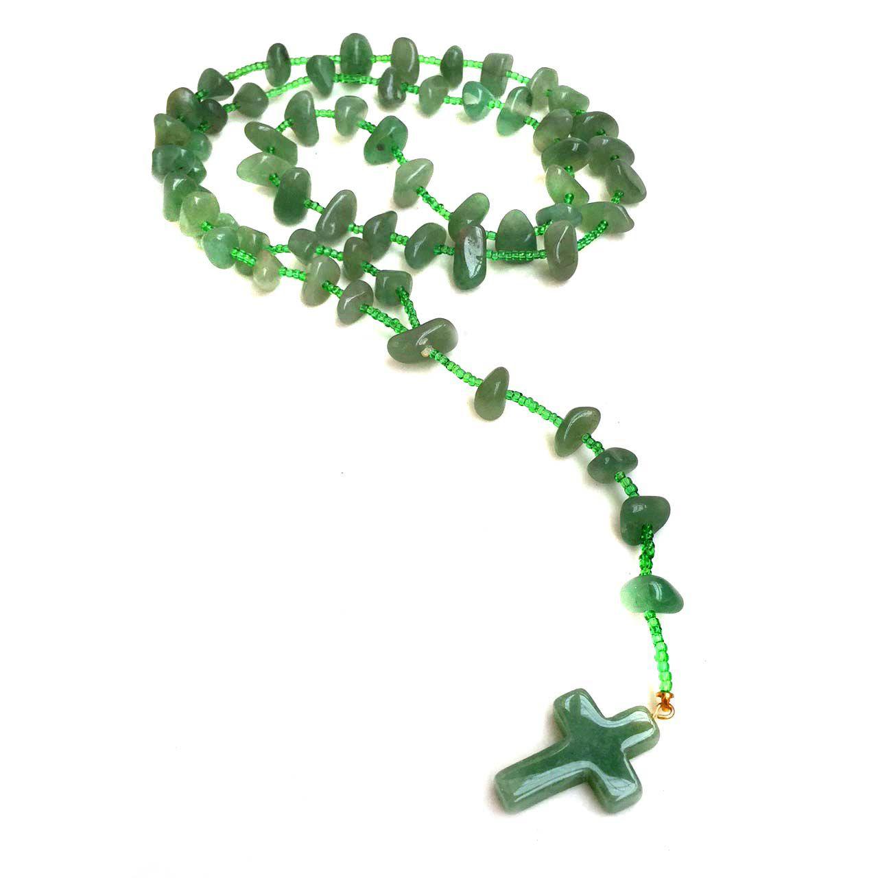 Terço de Cristal Natural Quartzo Verde