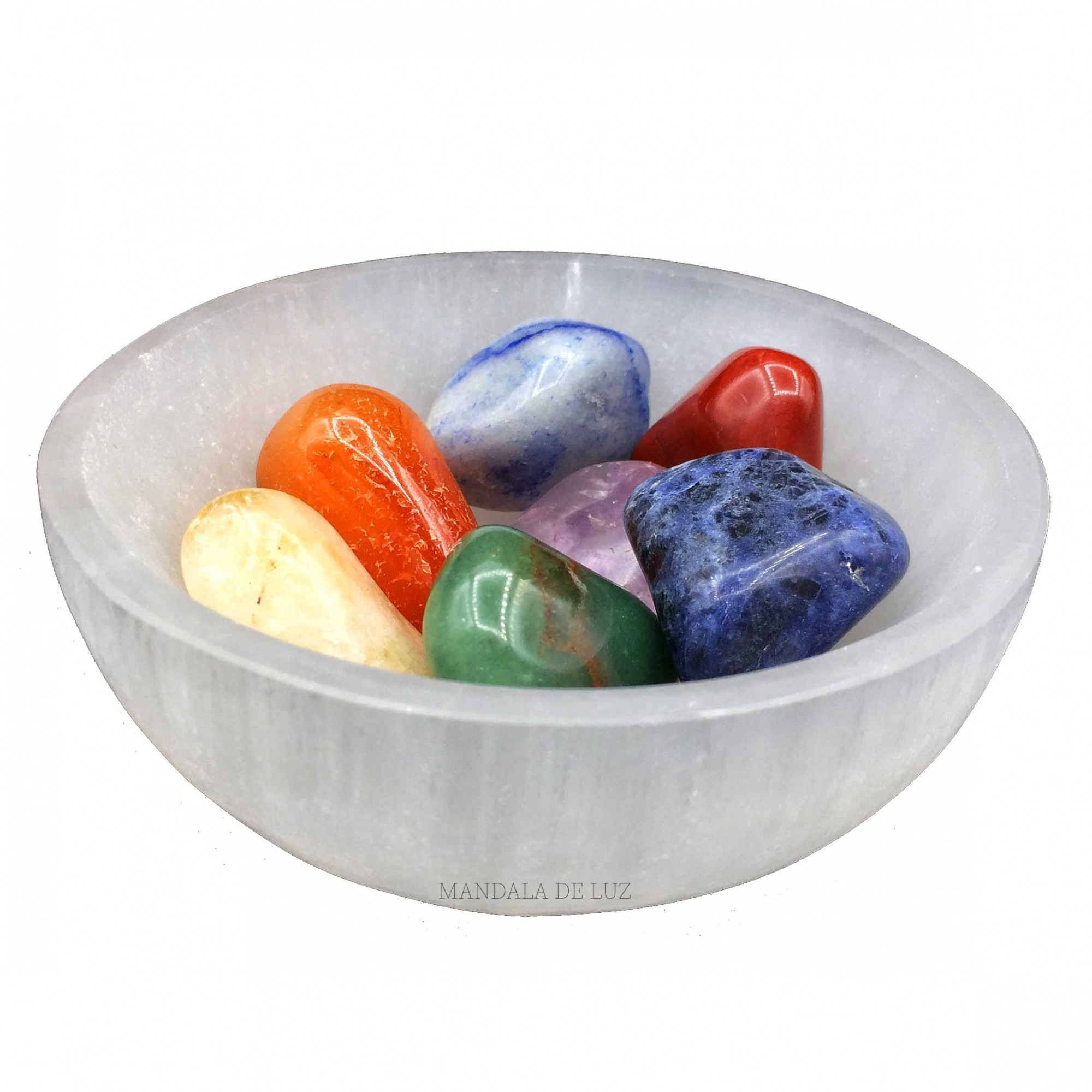 Tigela de Selenita Natural 10cm + Kit de 7 pedras dos chakras