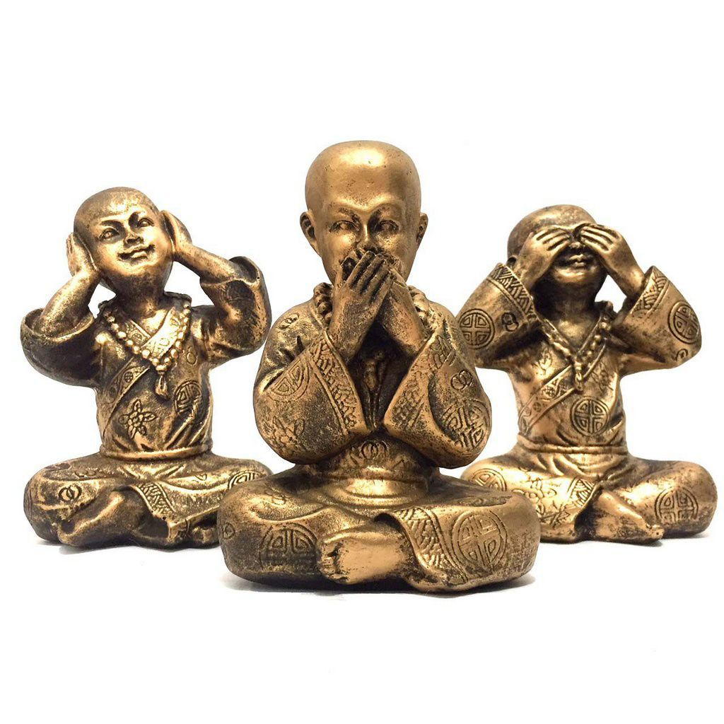 Trio de Estátuas Monge Buda Sábios Cego, Surdo e Mudo 14,5cm