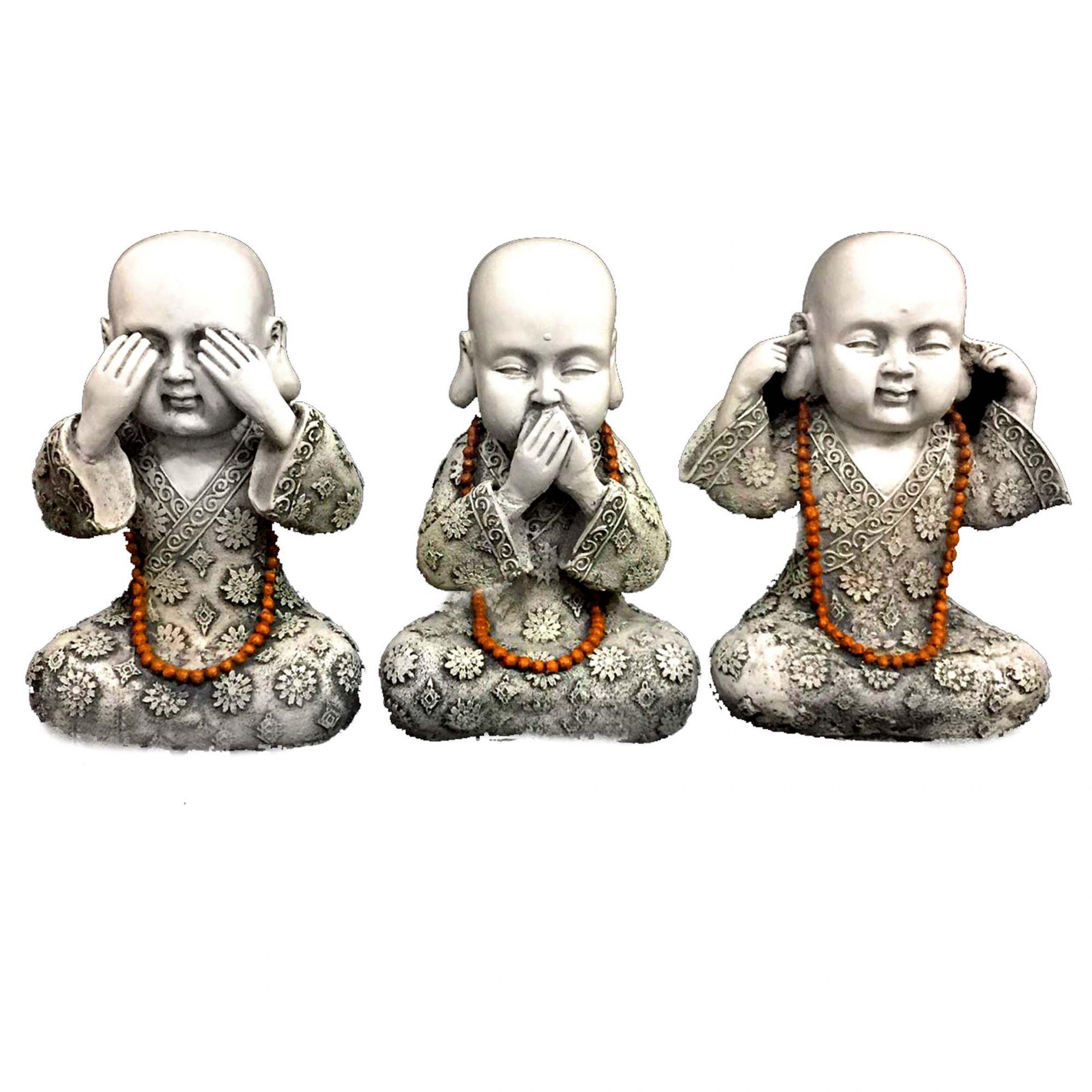 Trio de Estátuas Monge Buda Sábios Cego, Surdo e Mudo Resina 23cm