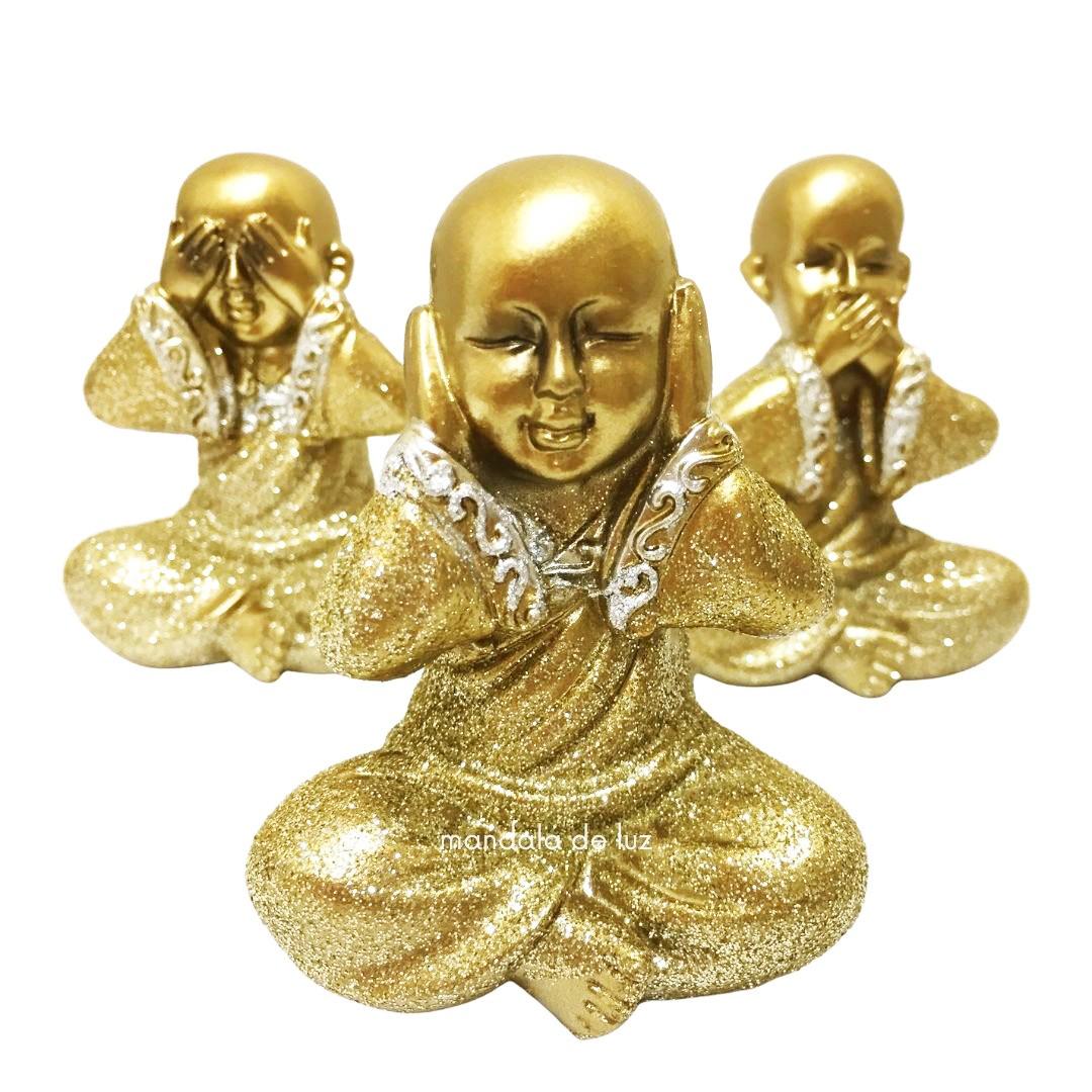 Trio Pequeno Estátuas Monge Buda Sábios Cego, Surdo e Mudo Glitter 8cm