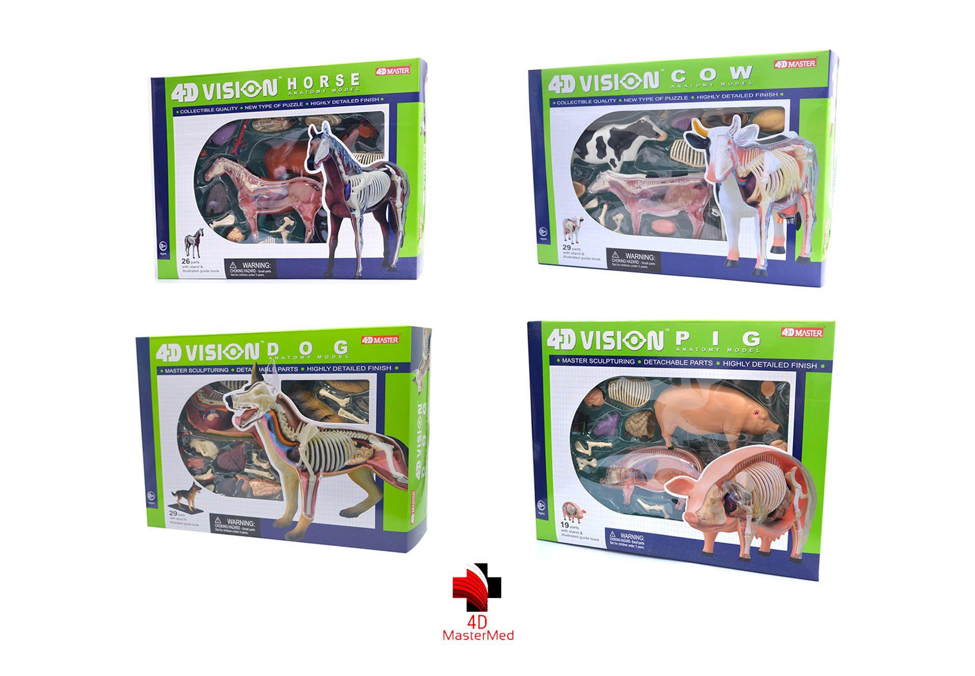 Kit Veterinário para estudo - Cavalo, Vaca, Cachorro e Porco