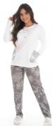Pijama Feminino De Inverno Canelado Blusa Com Bolso- Victory Ref: 21104