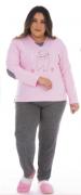 Victory-Ref: 21135 Pijama Feminino De Inverno Plus Size Meia Malha