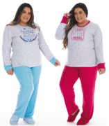 Victory-Ref.: 21136 Pijama Feminino Plus Size De Inverno Plush