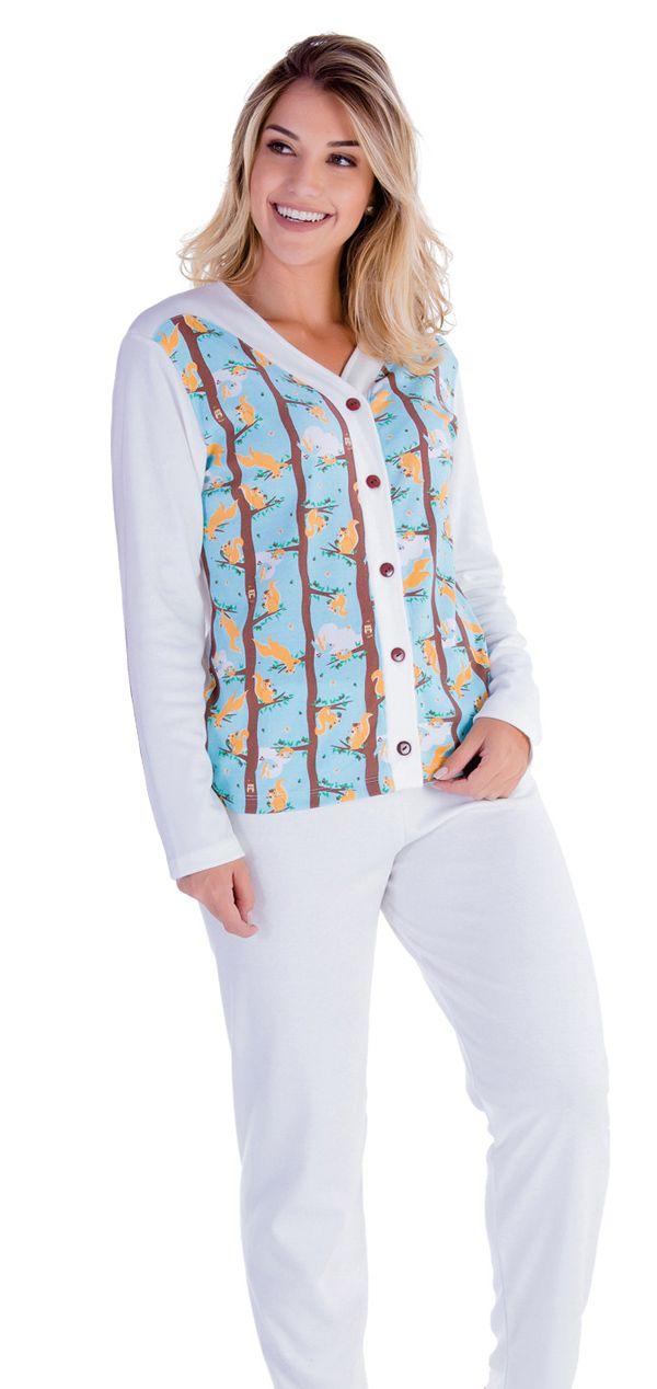 Pijama Aberto Feminino Inverno Adulto Canelado - Victory 18104