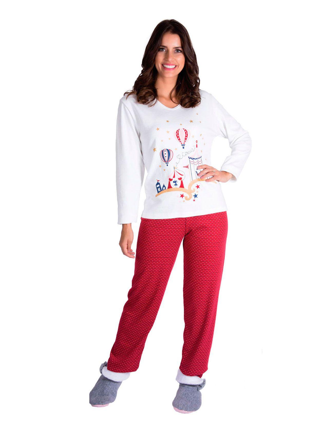 Pijama Adulto Feminino Inverno Canelado Mix - Victory 19102