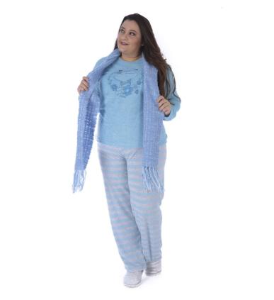 Pijama De Inverno Feminino Plus Size Plush-Victory 20133