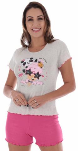 Pijama de Verão Short Dool Manga Curta Canelado  Victory - Ref 22012