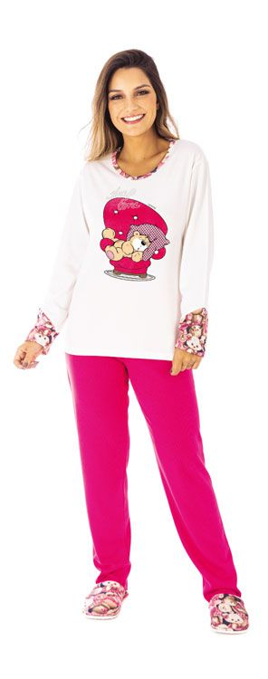Pijama Feminino Canelado De Inverno- Victory 20100