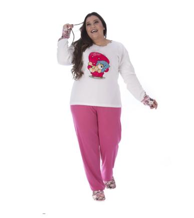 Pijama Feminino De Inverno Canelado Plus Size-Victory 20130