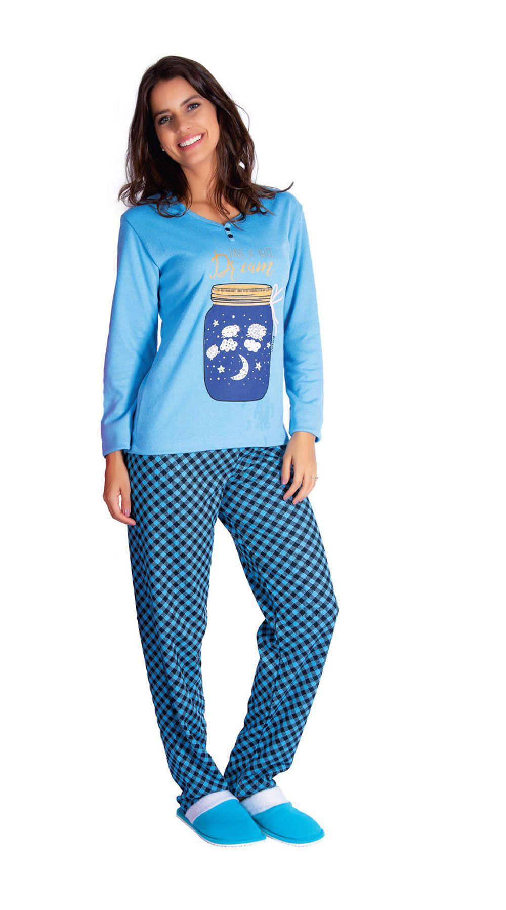 Pijama Feminino de Inverno Canelado Xadrez - Victory 19103