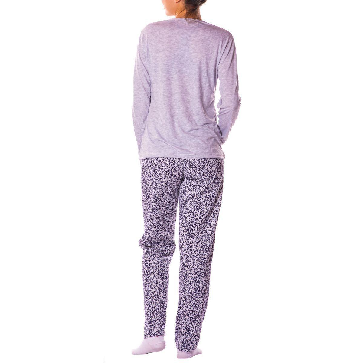 Pijama Feminino de Inverno Estampado Malha Fria - Victory 19111