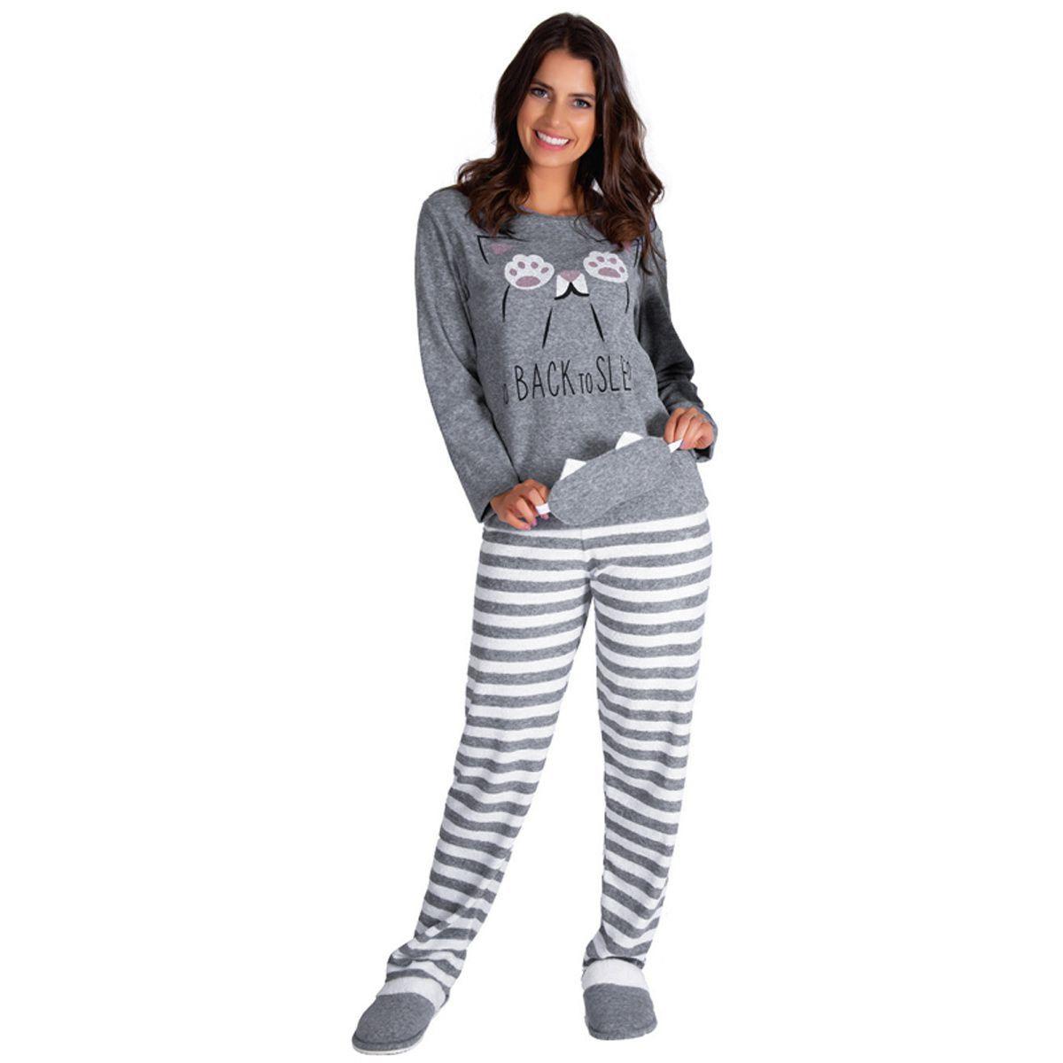 Pijama Feminino de Inverno Estampado Plush - Victory 19123