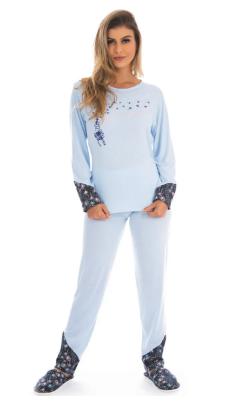 Pijama Feminino de Inverno Meia Malha  Victory - Ref 21114