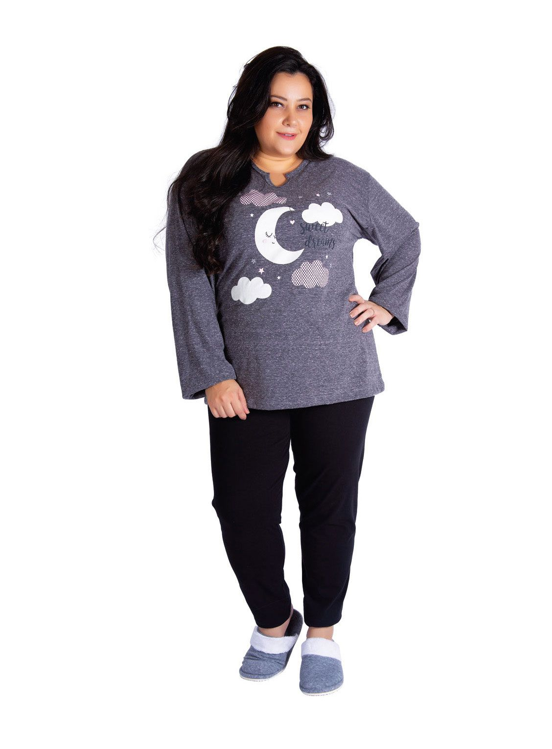Pijama Feminino de Inverno Plus Size Botonê - Victory 19134