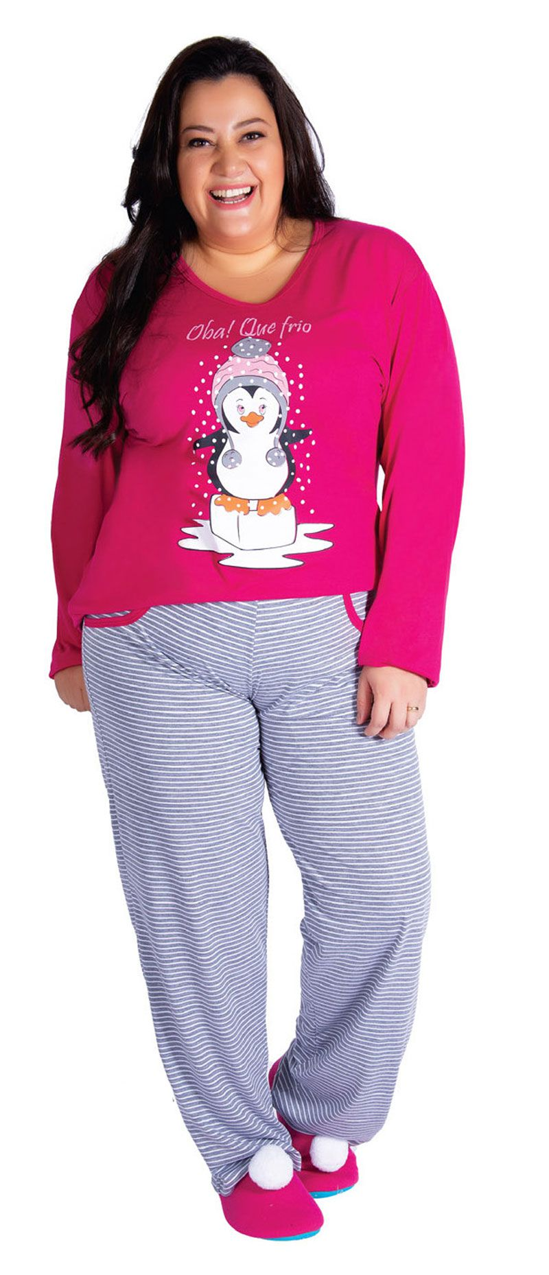 Pijama Feminino de Inverno Plus Size Meia Malha - Victory 19131