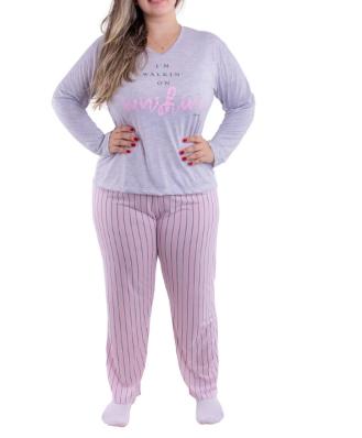 Pijama Feminino de Inverno Plus Size Meia Malha Victory  - Ref 21137