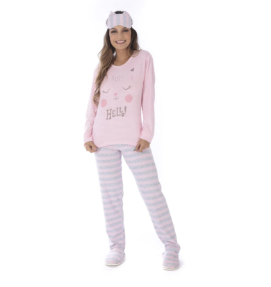 Pijama Feminino De Plush Listrado-Victory 20112