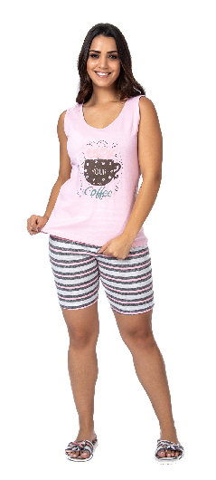 Pijama Feminino De Verão Bermudoll Regata-Victory Ref:21022