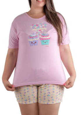 Pijama Feminino De Verão Plus Size Short Doll Manga Curta-Victory Ref:21052