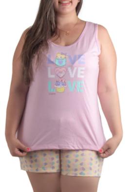 Pijama Feminino De Verão Plus Size Short Doll Regata-Victory Ref:21048