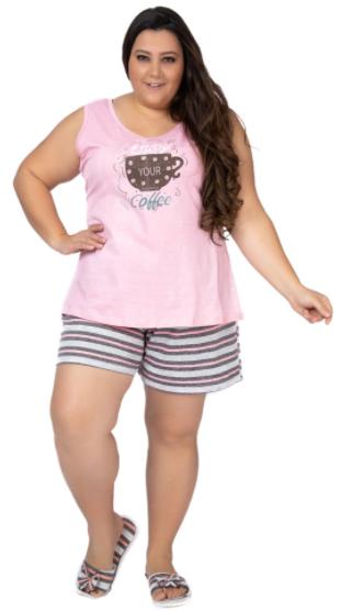 Pijama Feminino De Verão Regata Plus Size-Victory Ref:21049