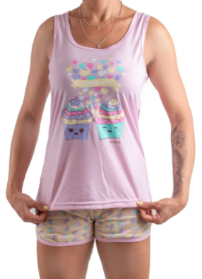 Pijama Feminino De Verão Short Doll Regata Nadador-Victory Ref:21010