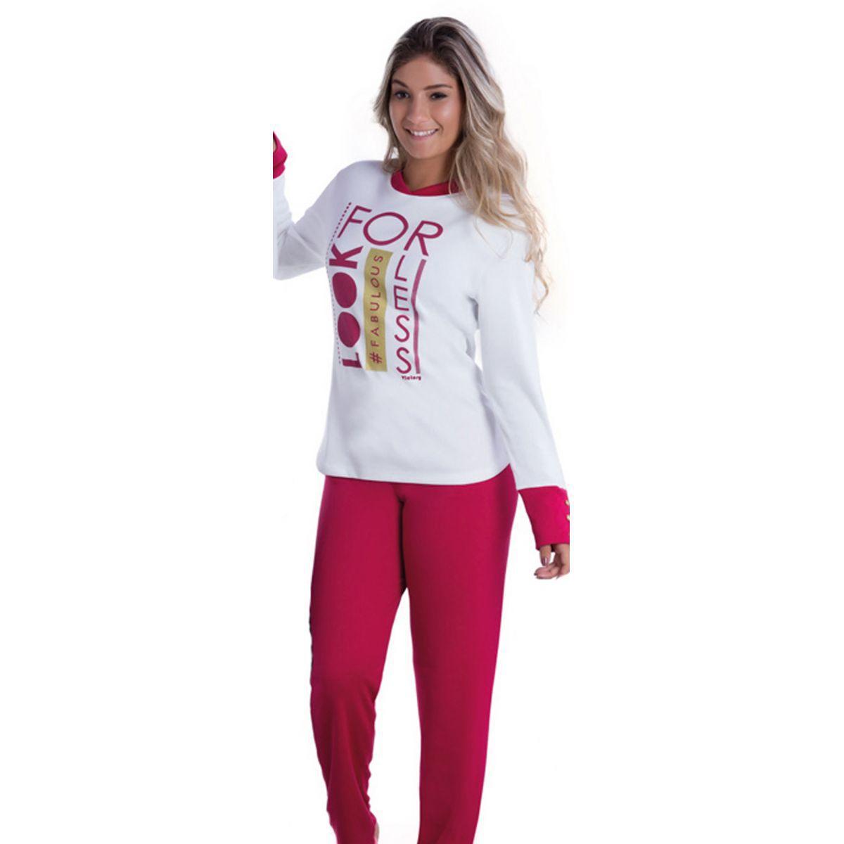Pijama Feminino Inverno Adulto Peluciado - Victory 17110