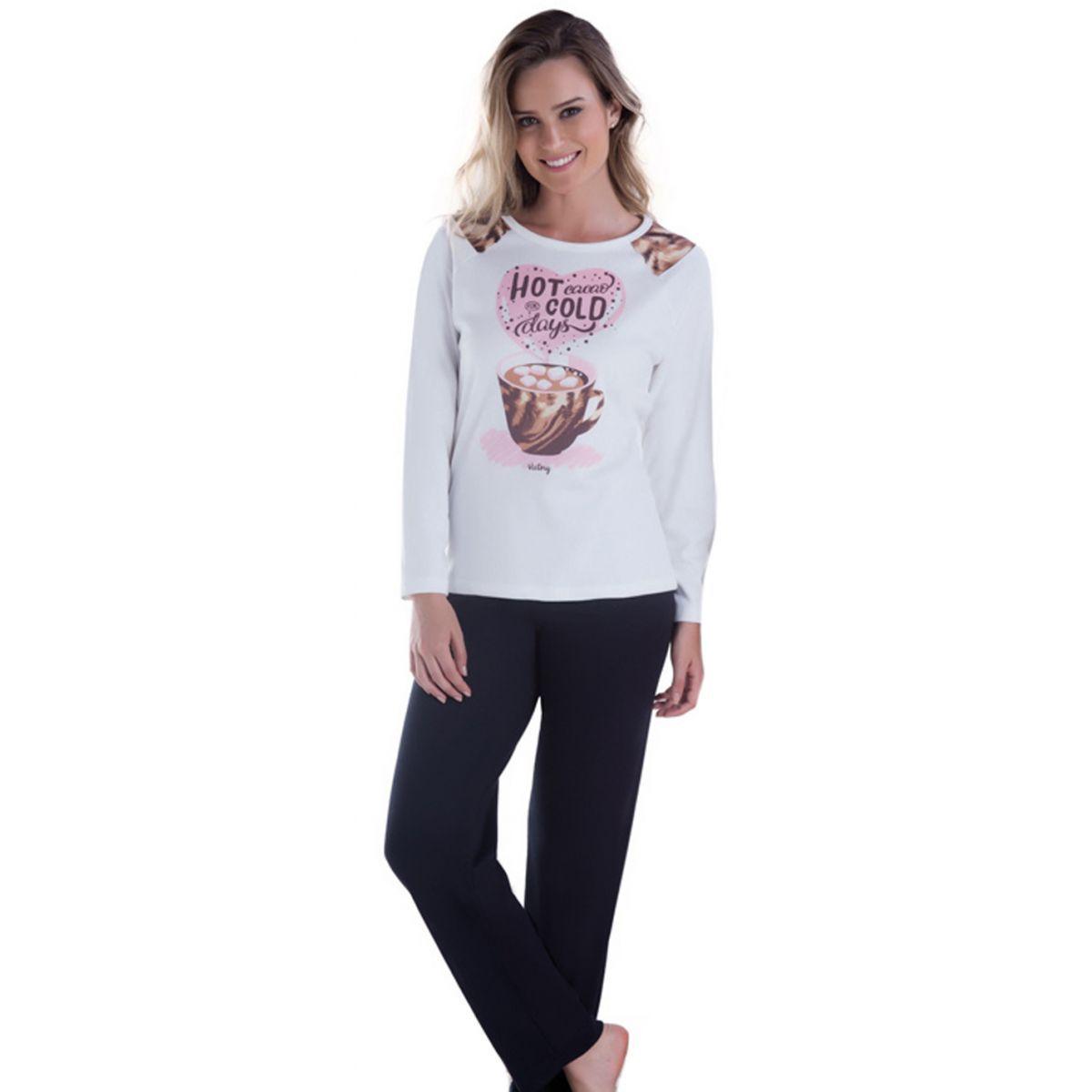 7a832dd4a Pijama Feminino Inverno Adulto - Victory 17100 - Sedução Lingerie