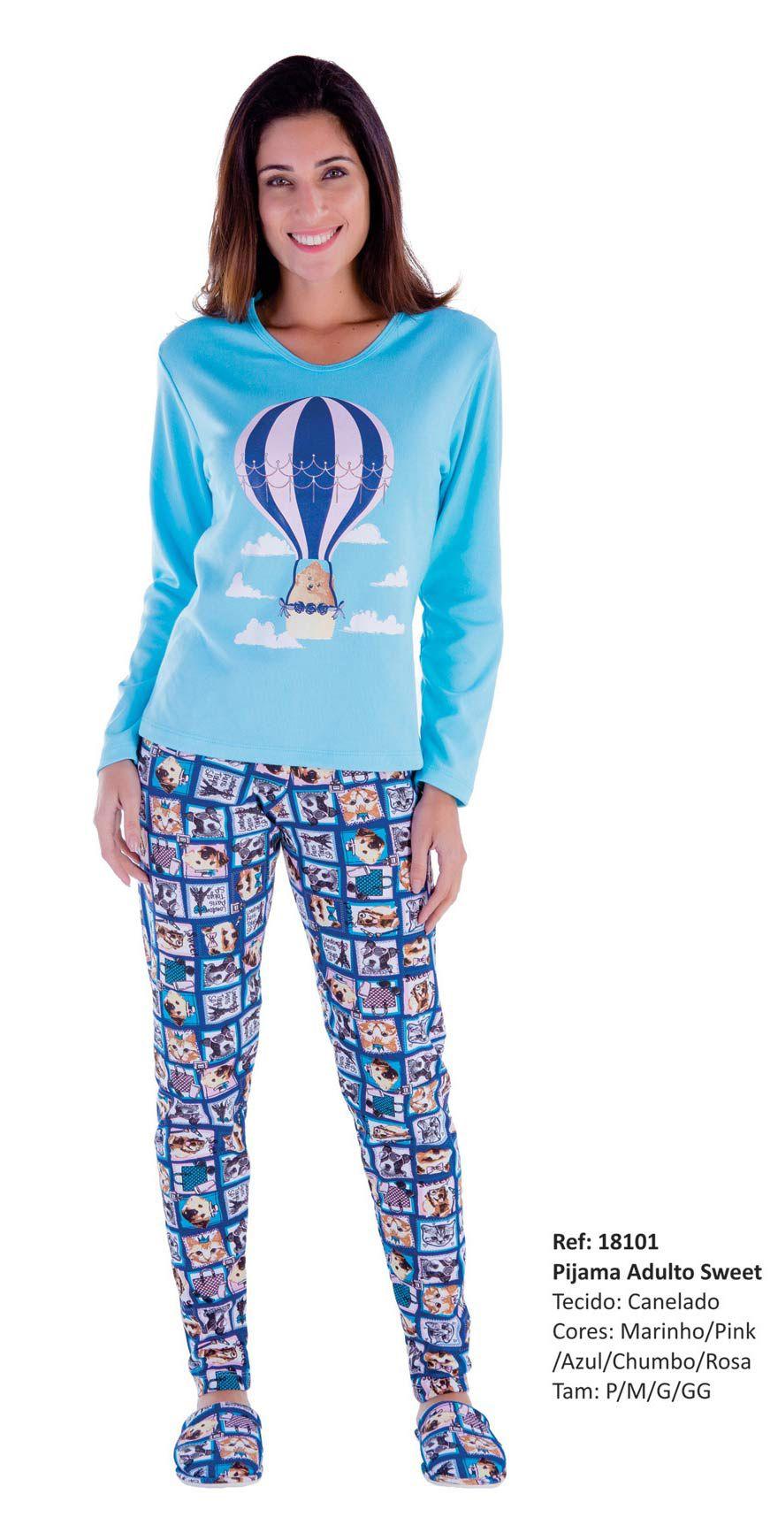 2df23c8e1 Pijama Feminino Inverno Adulto - Victory 18101 - Sedução Lingerie