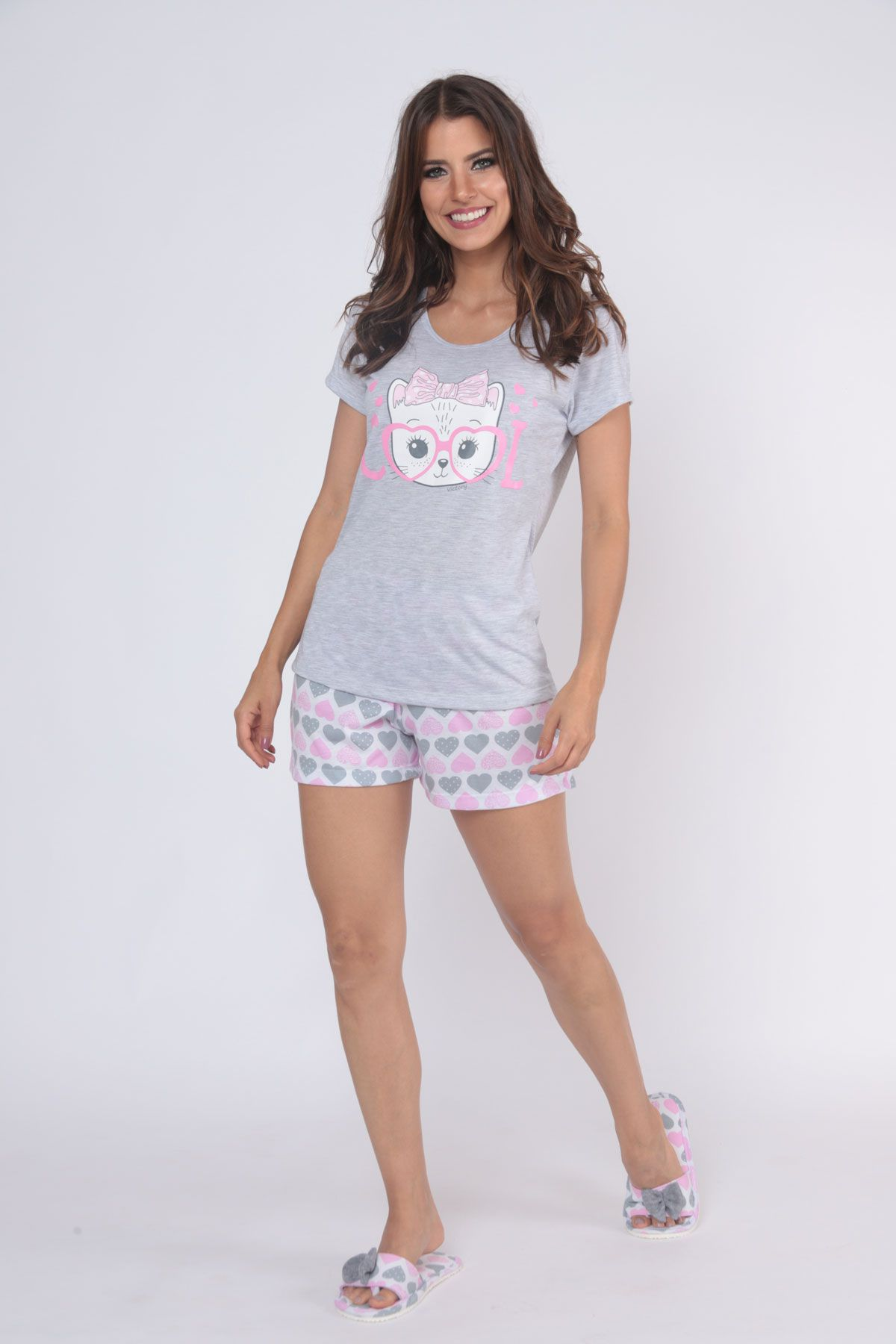 """Pijama Feminino Short Doll Manga Curta """"Bella"""" - Victory 20014"""